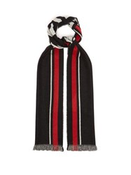 Givenchy 4G Logo Jacquard Cashmere Blend Scarf Black Red