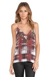 Lovers Friends Last Goodbye Cami In Merlot Plaid Wine