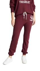 The Great Great. Warm Up Sweatpants Maroon With White Bear Logo