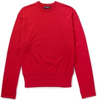 Balenciaga Oversized Cotton Blend Sweater Red