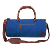 Mahi Leather Classic Duffle Overnight Gym Bag In Royal Blue Canvas