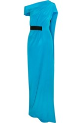Roland Mouret Minton One Shoulder Silk Gown Blue