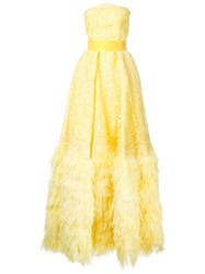 Isabel Sanchis Strapless Flared Gown Yellow Orange