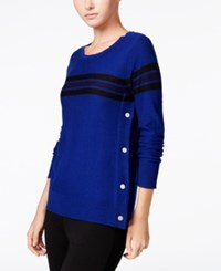 Maison Jules Striped Button Detail Sweater Only At Macy's Bright Sapphire Combo