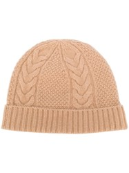 N.Peal Cable Knit Beanie Hat Neutrals