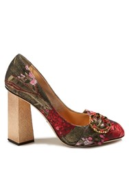 Dolce And Gabbana Block Heel Floral Jacquard Pumps Red Multi