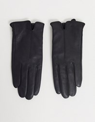 Accessorize Black Leather Gloves