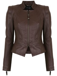 Tufi Duek Leather Panelled Jacket Brown
