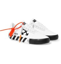 Off White Suede Trimmed Printed Canvas Sneakers White