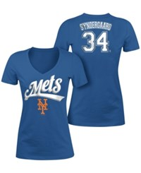5Th And Ocean Women's Noah Syndergaard New York Mets Foil Player T Shirt Royalblue