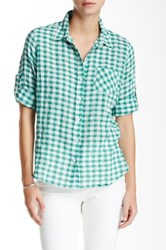 Sandra Ingrish Gingham Button Down Petite Green