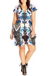 Plus Size Women's City Chic Print Front Zip Pleated Tunic