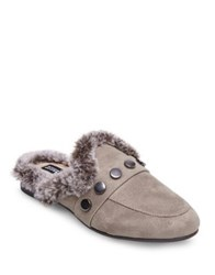 Design Lab Lord And Taylor Savant Mules With Faux Fur Grey