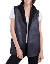 Velvet By Graham And Spencer Sherpa Reversible Open Front Vest Black