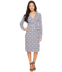 Pendleton Medallion Print Wrap Knit Dress Midnight Navy Medallion Knit Print Women's Dress Gray