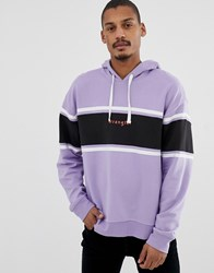 Wrangler Oversized Logo Colourblock Chest Stripe Sweatshirt In Heirloom Lilac Purple