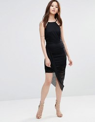 Wal G Lace Dress With Aysemmetric Hem Black