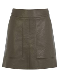 Warehouse Panelled Faux Leather Skirt Brown