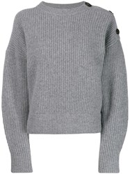 Yves Salomon Shoulder Button Jumper Grey
