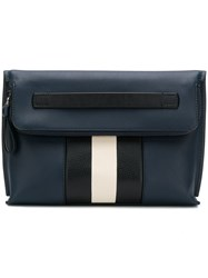 Bally Striped Clutch Bag Blue