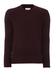 Peter Werth Men's Davis Chunky Knitted Cotton Crew Neck Burgundy