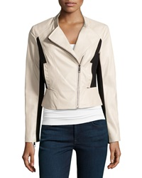 Vakko Faux Leather Ponte Two Tone Jacket Nude Black
