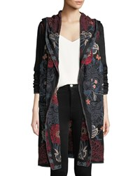 Johnny Was Bella Hooded Open Front Embroidered Cardigan Plus Size Charcoal