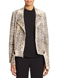 Elizabeth And James Corlyn Python Print Leather Jacket Natural