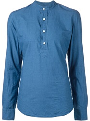Salvatore Piccolo Mandarin Collar Shirt Blue