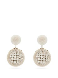 Rebecca De Ravenel Pomegranate Crystal Embellished Cord Clip Earrings White