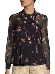 Red Valentino Floral Print Silk Blouse Nero