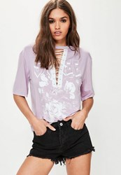 Missguided Purple Graphic Lace Up T Shirt Lilac