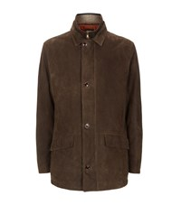 Peter Millar Shearling Trim Leather Jacket Male