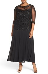 Pisarro Nights Plus Size Women's Beaded Mock Two Piece Gown Black