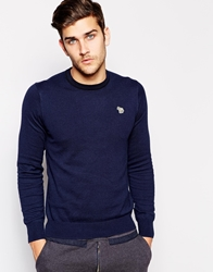 Paul Smith Jeans Jumper With Zebra Logo In Crew Neck Blue