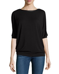 Neiman Marcus Jersey Tee W Faux Leather Neck Black