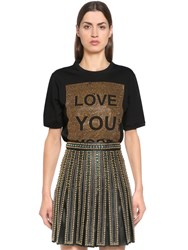 Elie Saab Love You More Embellished Jersey T Shirt Black Gold