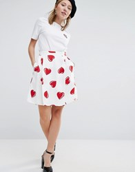 Love Moschino All Over Heart Print Skirt White