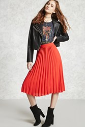 Forever 21 Accordion Pleated Skirt Tomato