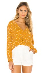 Amuse Society Aria Blouse In Yellow. Gold