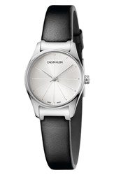 Calvin Klein Classic Leather Strap Watch 24Mm Black Silver