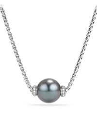 David Yurman Solari Pearl Pendant Necklace W Diamonds Gray White