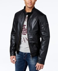 Armani Jeans Distressed Leather Bomber Jacket Solid Black