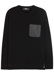 Fendi Black Leather Trimmed Wool Jumper
