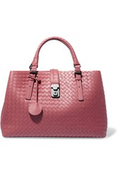 Bottega Veneta Roma Medium Intrecciato Leather Tote Pink
