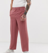 Noak Wide Leg Smart Trousers In Pink Pinstripe