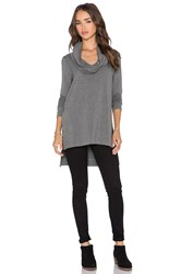 Michael Stars Cowl Hood High Low Tunic Gray