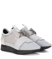 Balenciaga Race Runner Leather And Patent Leather Sneakers Grey