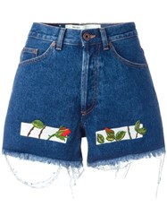 Off White Embroidered Denim Shorts Blue