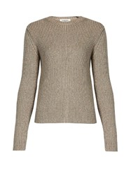 Valentino Ribbed Knit Wool Blend Sweater Light Pink
